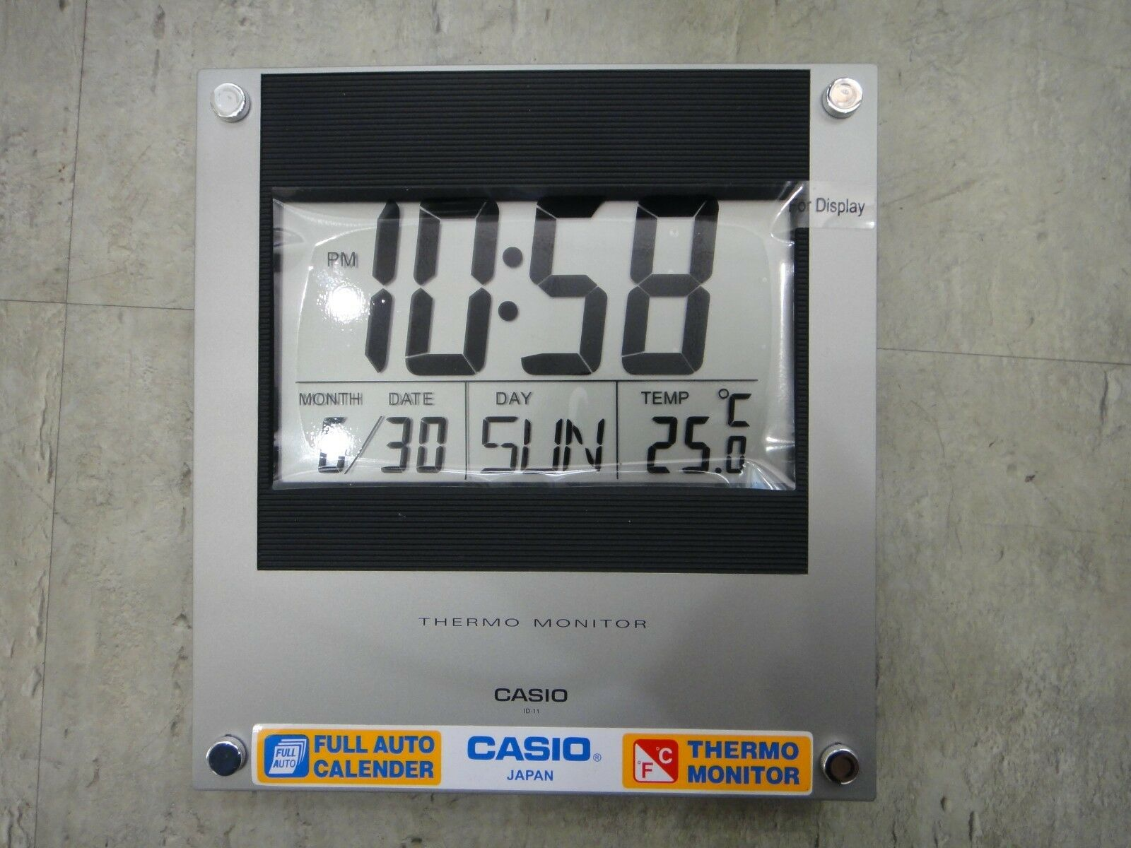 Casio id 11 auto calendar thermo hygrometer large wall clock picture 1 of 4 amipublicfo Gallery