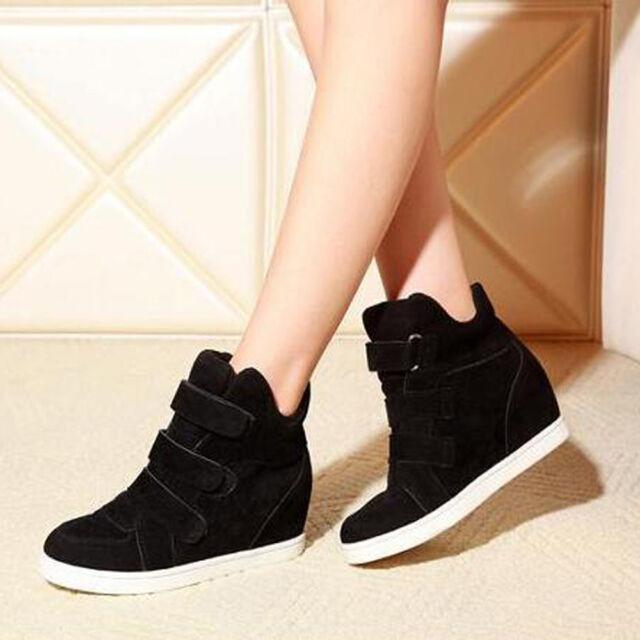 Women Fashion Hidden Wedge HEELS Shoes Increased High Top Casual ...