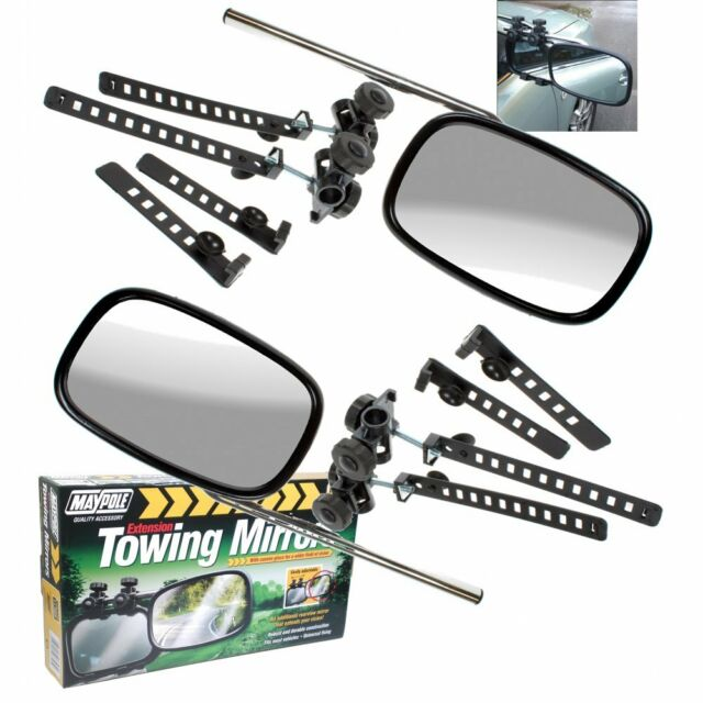 Twin Pair Convex Caravan SUV Extension Wing Side Towing Mirrors Maypole MP8323