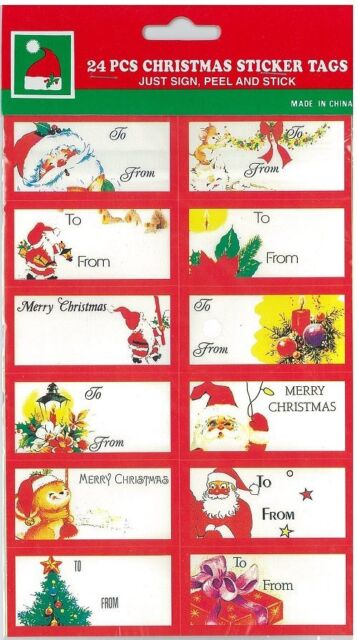 24 christmas gift tags present gift wrap self adhesive labels