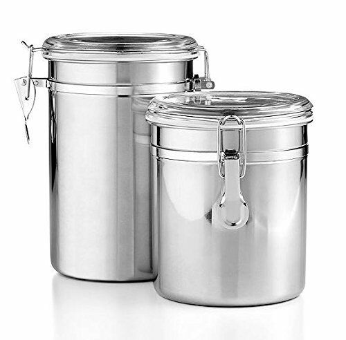 Tools Of Trade 2 PC Stainless Steel Kitchen Canister Set Airtight Lidclamps  | EBay