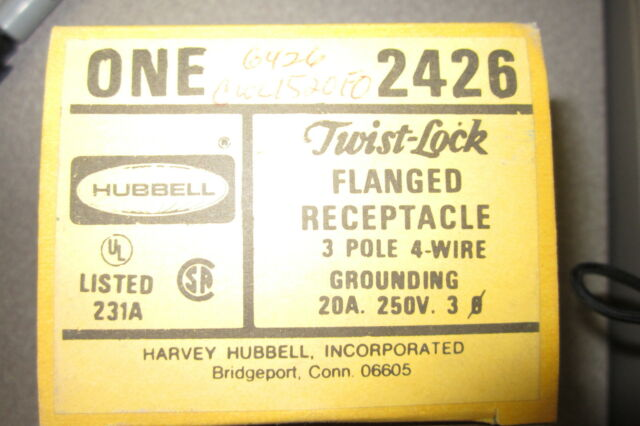 Hubbell 2426 Flanged Twist-lock Nylon Receptacle 3 Pole 4 Wire ...