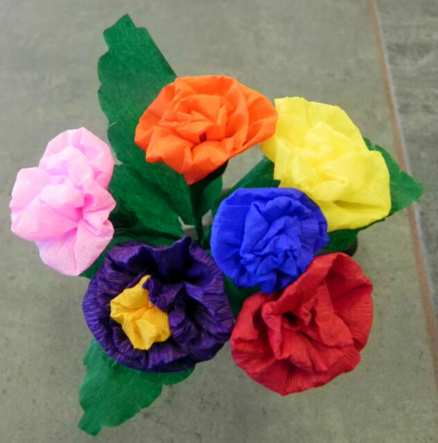 Mexican paper flowers multicolor bouquet of 6 crafts party ebay mexican paper flowers multicolor bouquet of 6 crafts party mightylinksfo