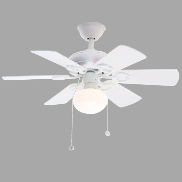 White Ceiling Fan 6 Reversible Matte Blades Remote Control Angle Mount