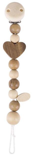 Heimess DUMMY CHAIN HEART Baby/Nursery Wooden Pacifier Pram Toy Gift BNIP
