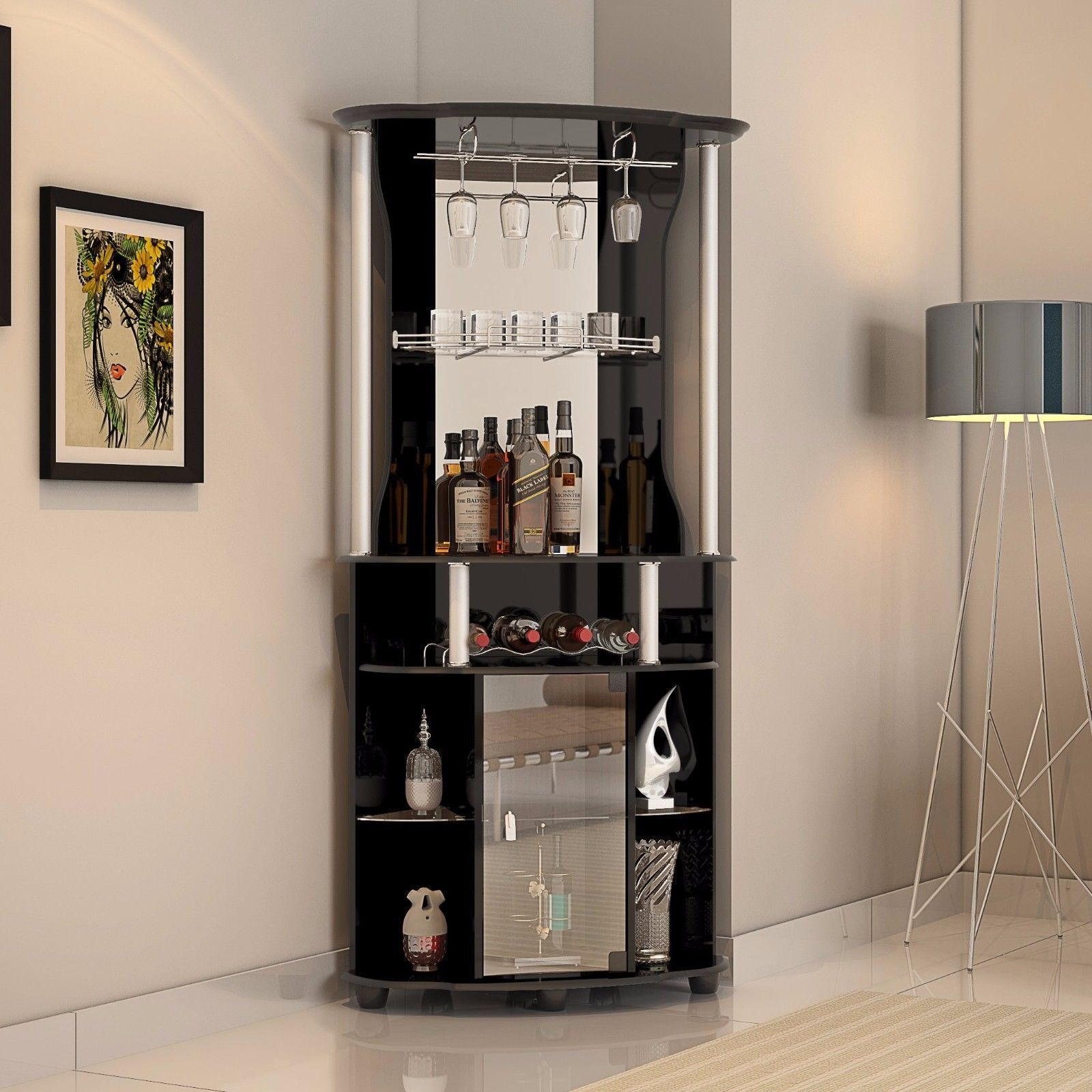 Corner Liquor Cabinet Home Pub Bar Furniture Wine Bottle Storage Stemware Rack