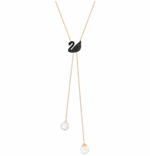 Swarovski 5351806 iconic swan rose gold plated y necklace length swarovski 5351806 iconic swan rose gold plated y necklace length 38cm rrp 199 aloadofball Gallery