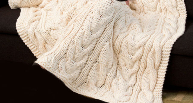 Knitting Pattern Aran Twisted Cables Throw And Cushion Cover