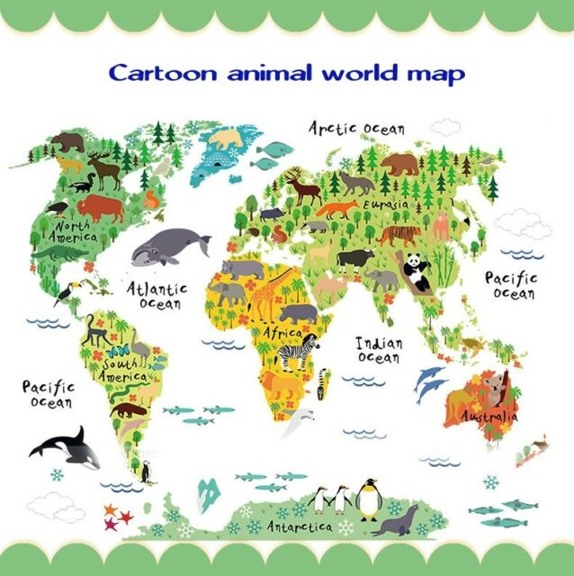 Kids room home decor great colorful world map diy removable wall wall animal sticker decor cartoon world map removable home kids room art decal gumiabroncs Choice Image