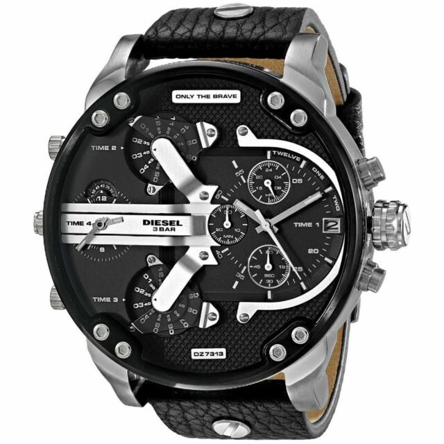 NEW DIESEL DZ7313 MENS MR DADDY 2.0 57MM BLACK LEATHER CHRONOGRAPH WATCH