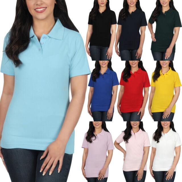 1c79f454 New Ladies Polo Shirt Short Sleeve Womens Plain Pique Classic Top T Shirt  Lot