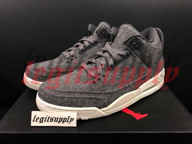 Nike Air Jordan 3 III Retro Wool 4Y-13 Dark Grey Sail White 854263-