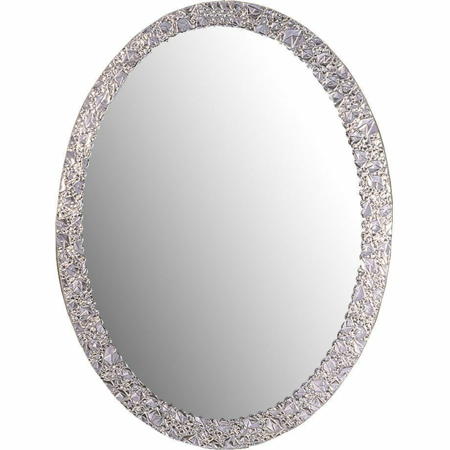 Crystal wall mirror glam chic silver oval frameless vanity picture 1 of 5 amipublicfo Choice Image