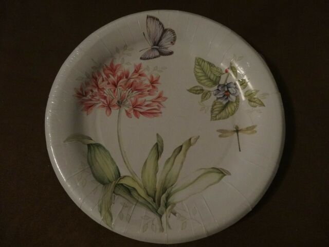 Lenox Butterfly Meadow Pink 16 Coated Dinner Plates-10.5\ -New In Package : lenox paper plates - pezcame.com