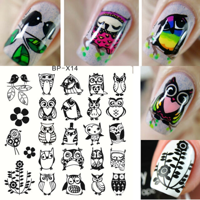 Born Pretty Nail Art Stamping Plates Owl Image Stamp Template 6*6cm ...