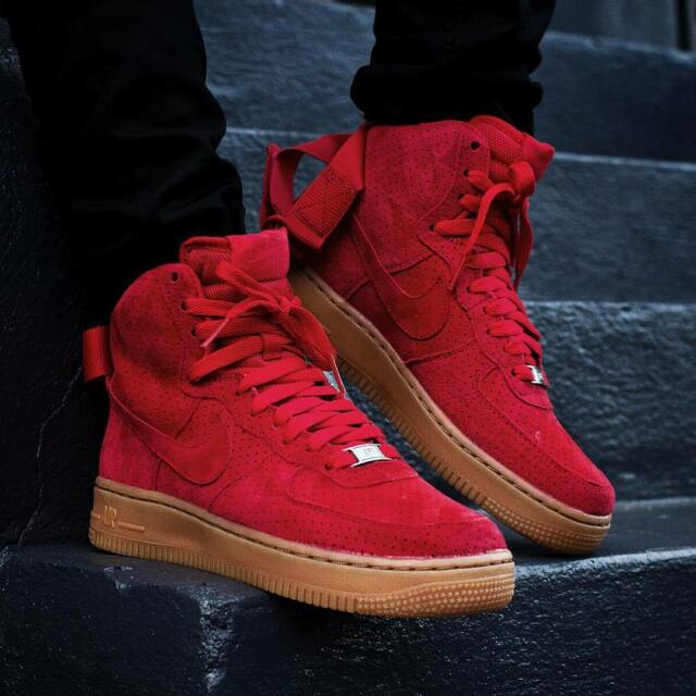 nike air force 1 hi suede university red color