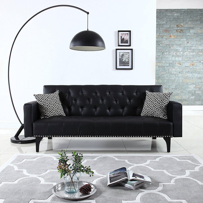 Modern Tufted Bonded Leather Sleeper Futon Sofa With Nailhead Trim