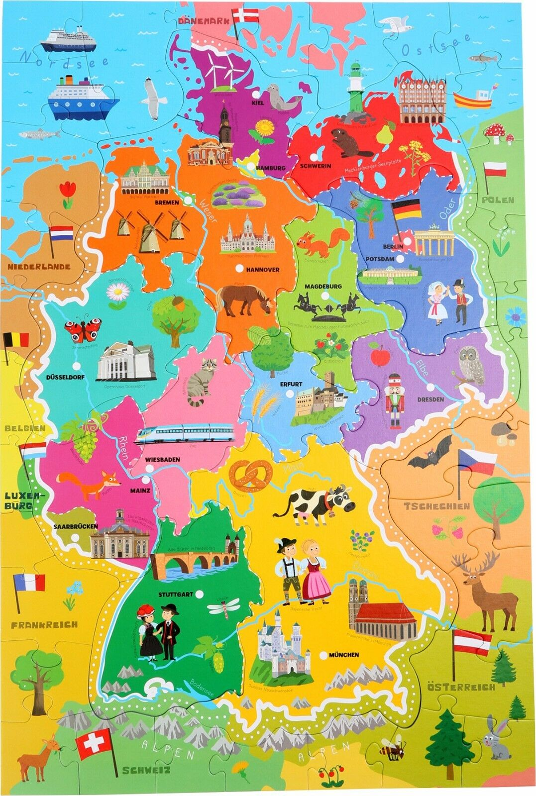 Trefl 10417 learning puzzle map of germany ebay wooden puzzles world map flags globe geography german children kids jigsaw gumiabroncs Choice Image