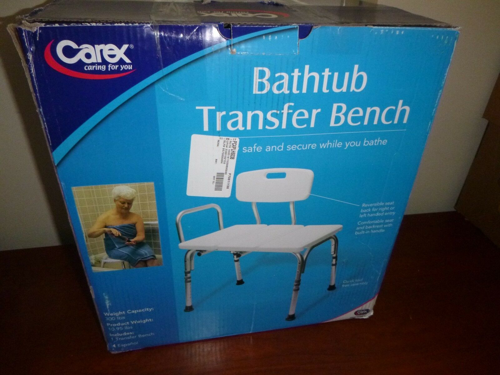 Carex Bathtub Transfer Bench Fgb15411-0000 Bath Tub Safety Bathroom ...