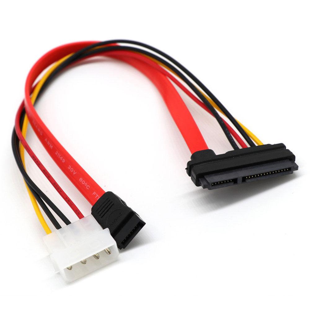 SATA Combo 15 Pin Power and 7 Pin Data Cable 4 Pin Molex to Serial ...