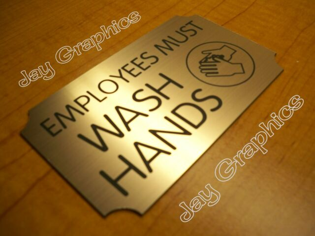 Engraved Employees Must Wash Hands Sign | Brushed Copper Office Restroom  Plaque