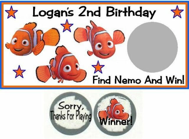 10 Finding Nemo Birthday Party Baby Shower Scratch Off Game Card