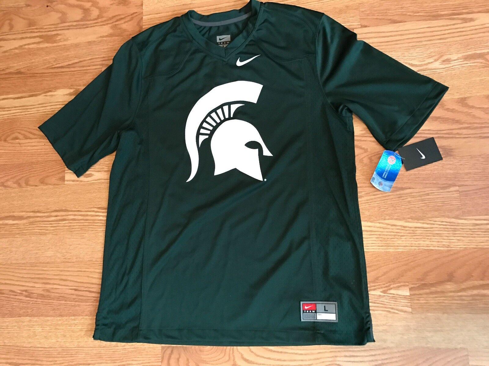 Nike Green White MSU Michigan State Spartans Football Jersey Spartan