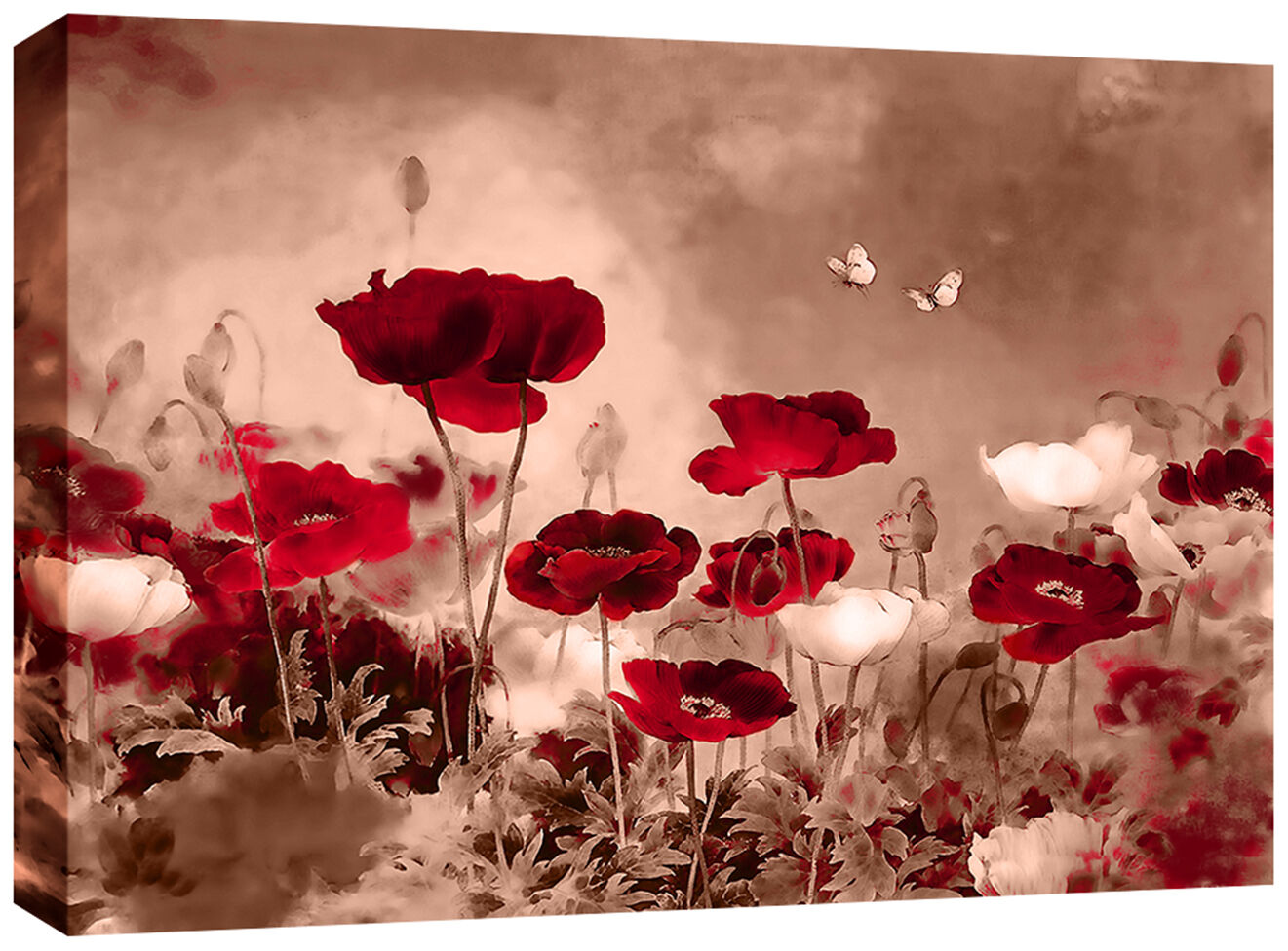 Superieur Red Sepia Canvas Chinese Floral Wall Art Picture 77x52 Cm Framed 3cm Frame