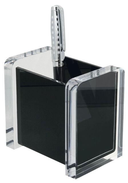 WEDO Stifteköcher acryl exklusiv, glasklar/schwarz