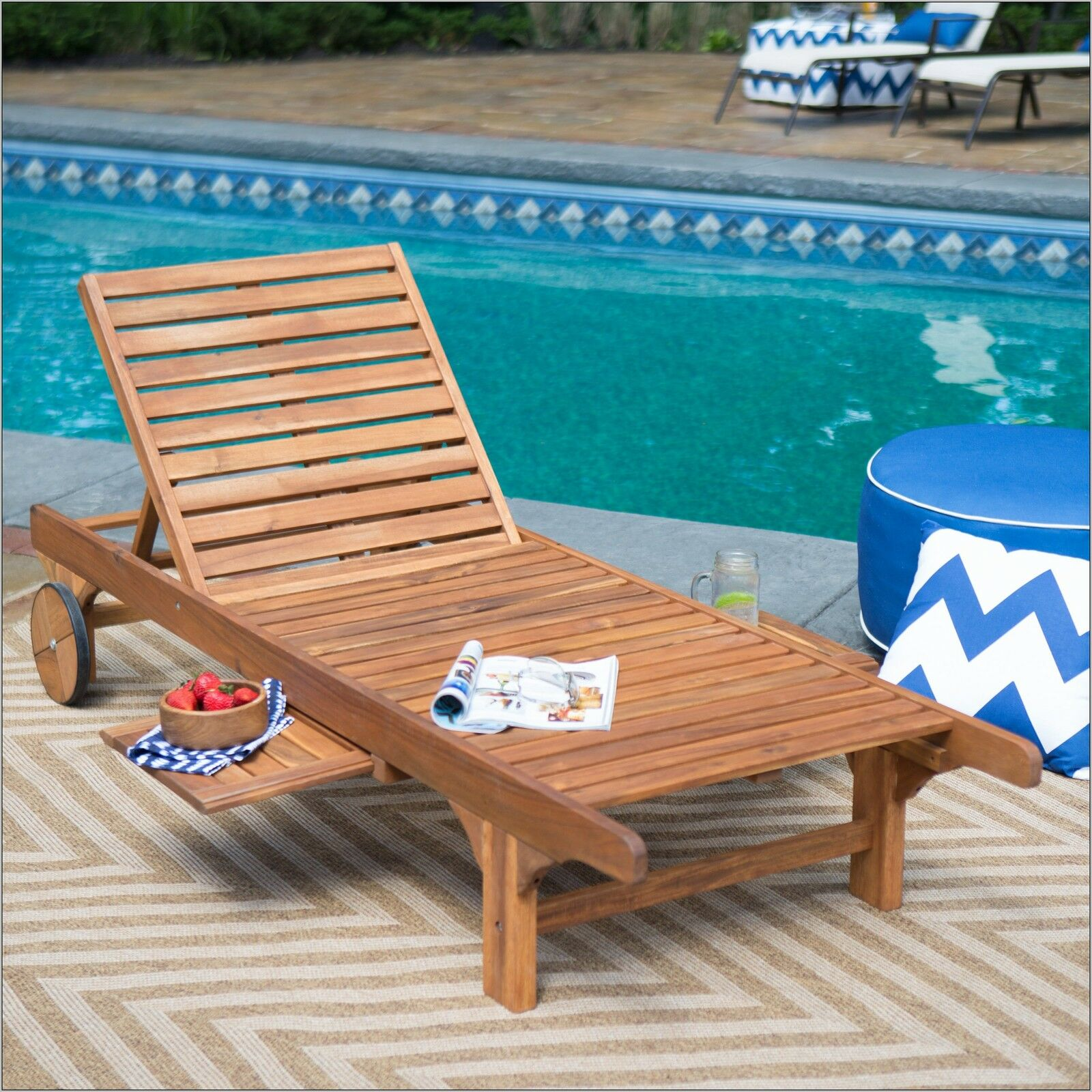 Outdoor Chaise Lounge Chair Recliner Pool Deck Patio Lounger