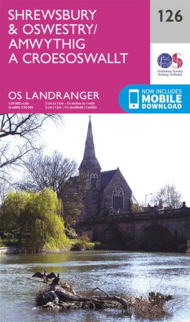 SHREWSBURY & OSWESTRY LANDRANGER MAP 126 - Ordnance Survey - OS - NEW 2016