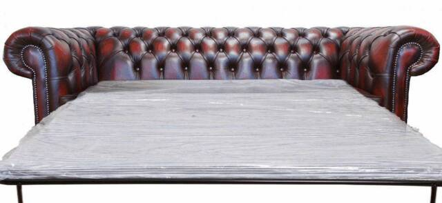 Delightful Brand New Chesterfield 3 Seater Sofa Bed Antique Oxblood Leather Sofa Settee