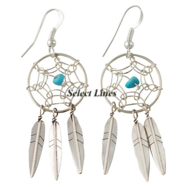 Lorenzo Arviso Jr Sterling Silver Dreamcatcher Earrings Navajo Native American