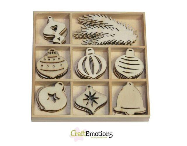 Craft Emotions caja de 40 formas madera adornos Navidad bolas 811500