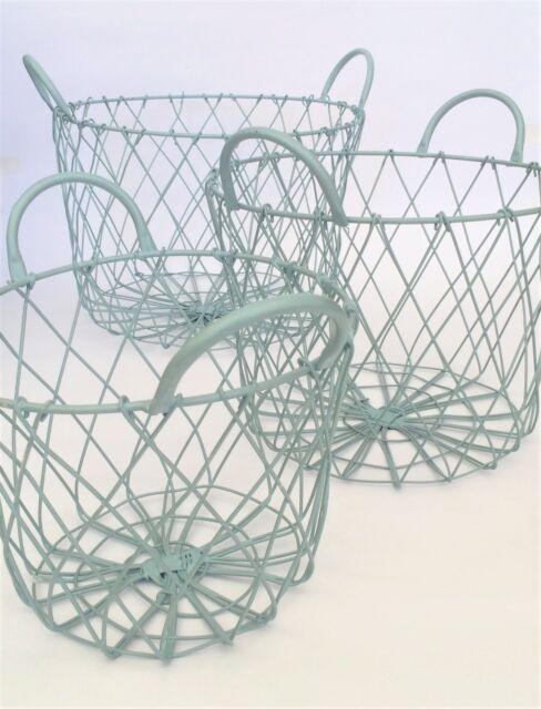 Metal Wire Basket Duck Egg Blue Round Storage Holder Vintage Shabby ...