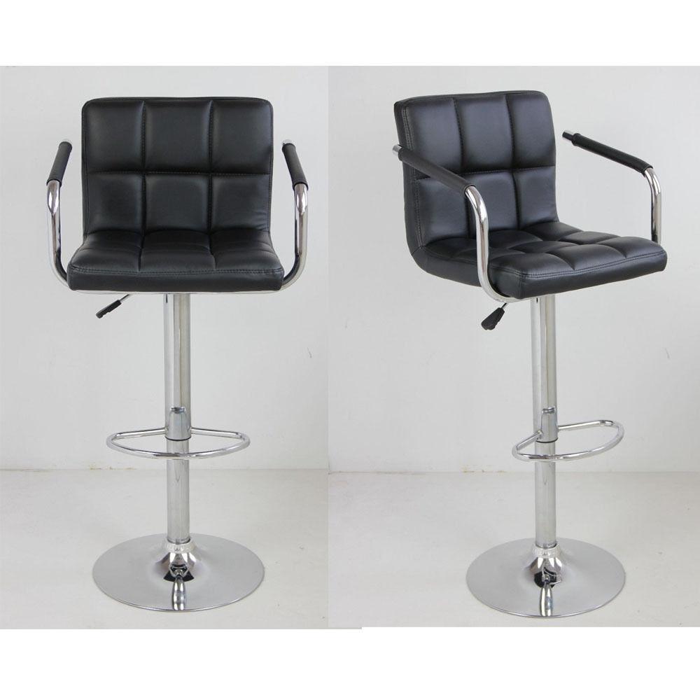 2 Black Bar Stools Leather Modern Hydraulic Swivel Pub Chair