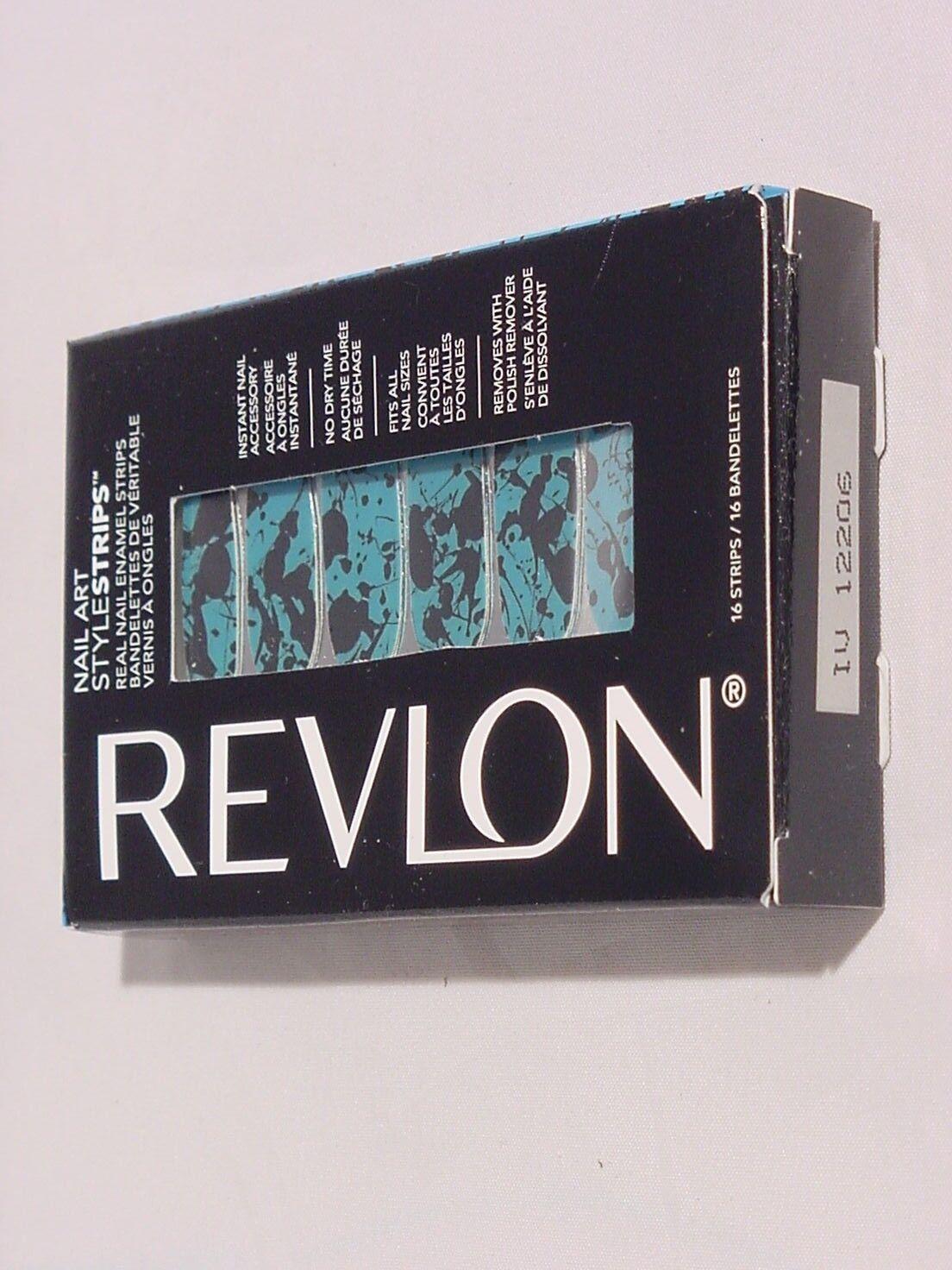 Revlon Nail Art Style Strips Blue And Black Paint Splatter 12206
