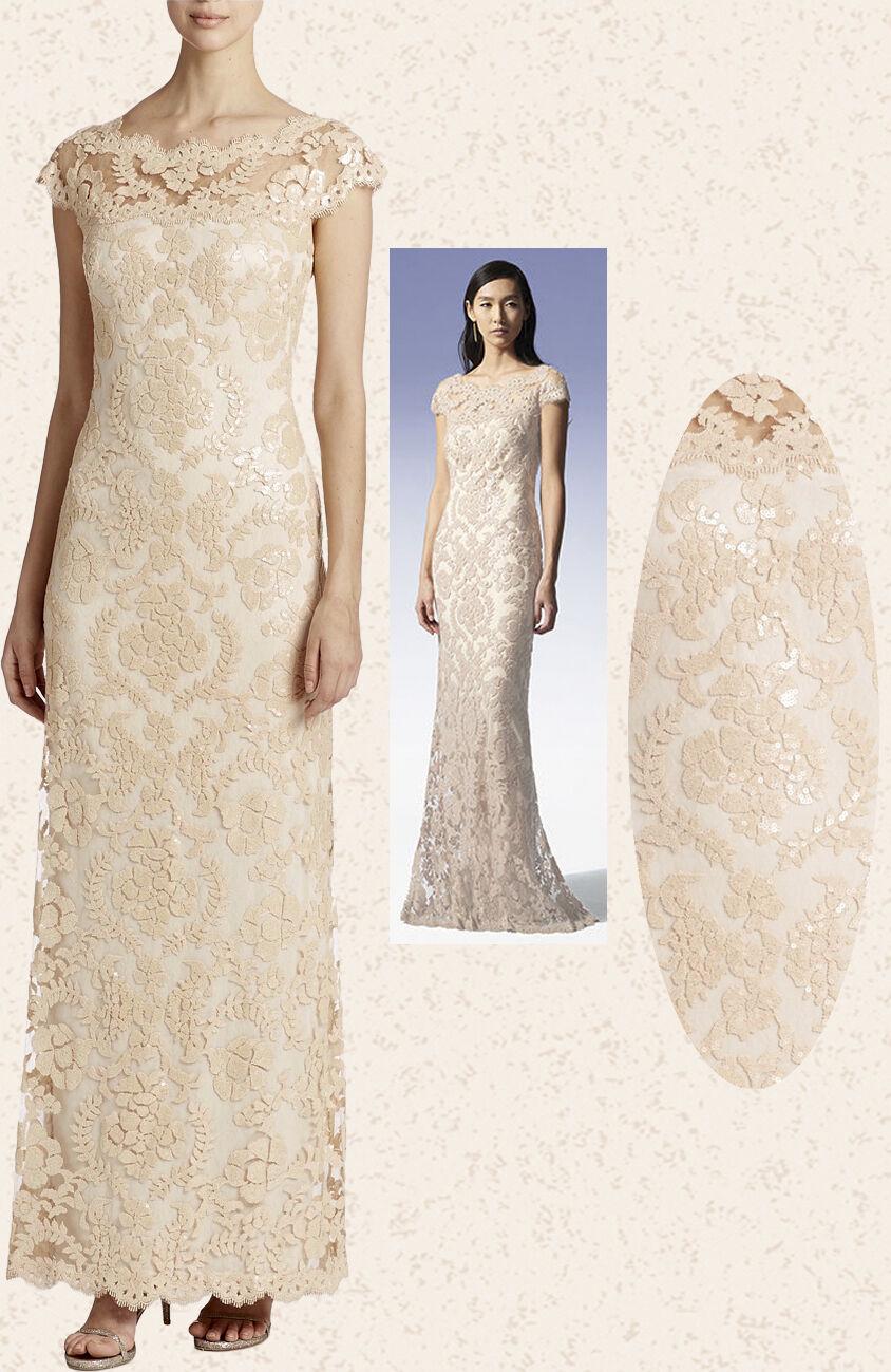 Tadashi Shoji Jute Illusion Sequin Paillette Lace Dress Gown 6 | eBay