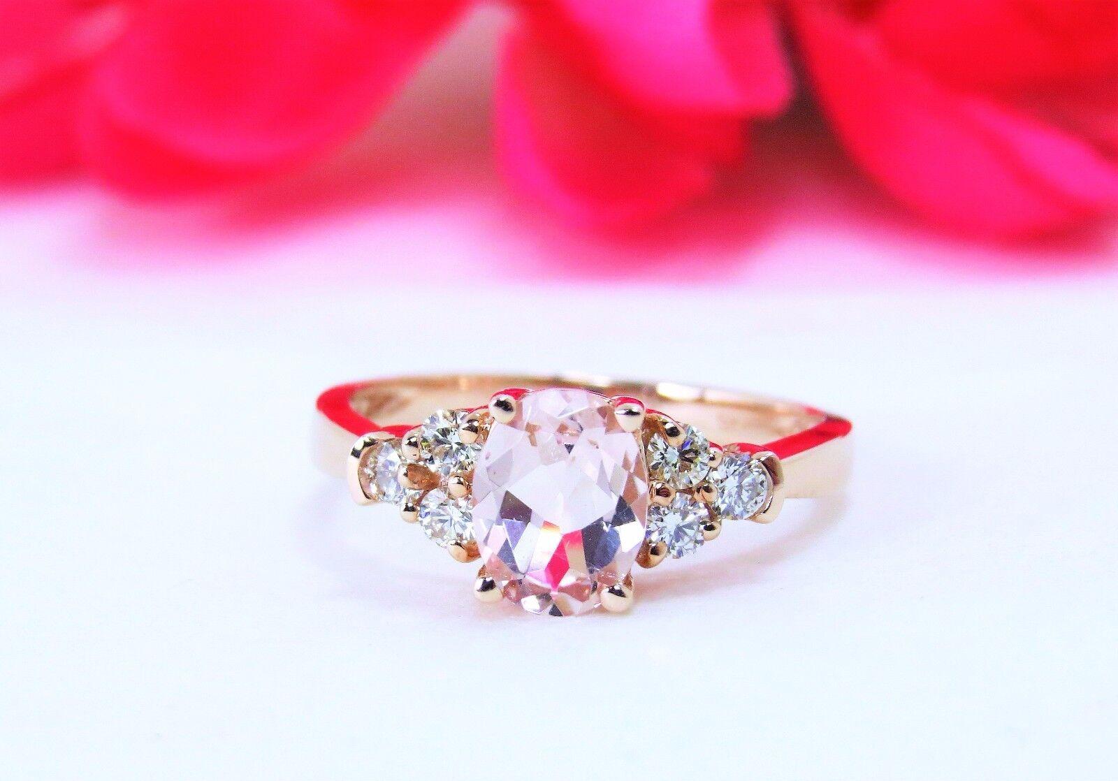 14k Rose Gold Oval Morganite W/ Diamond Accents Ring 7 | eBay