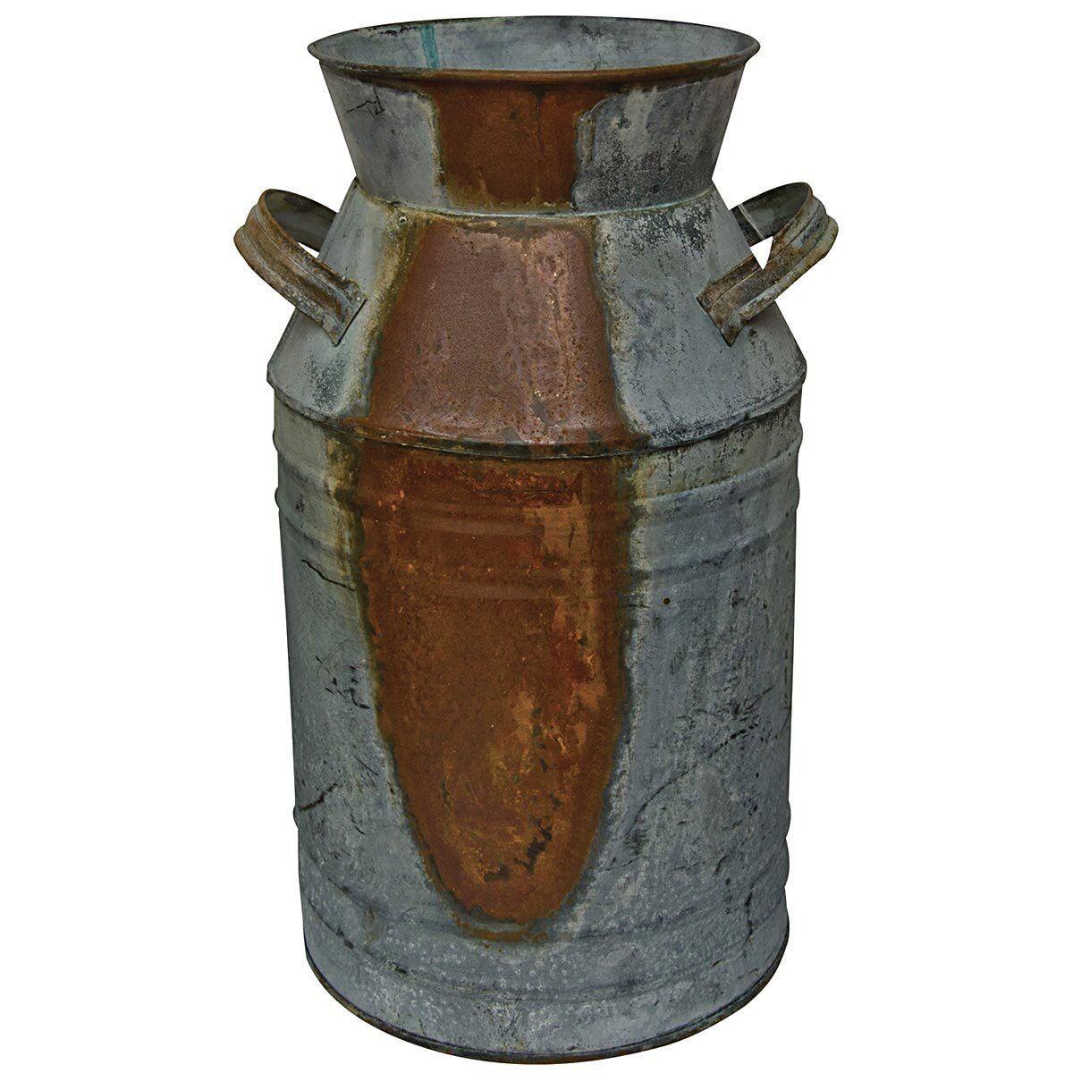 Galvanized Milk Can Farm Metal Garden Vase Decor Country Primitive Rustic  Jug | EBay