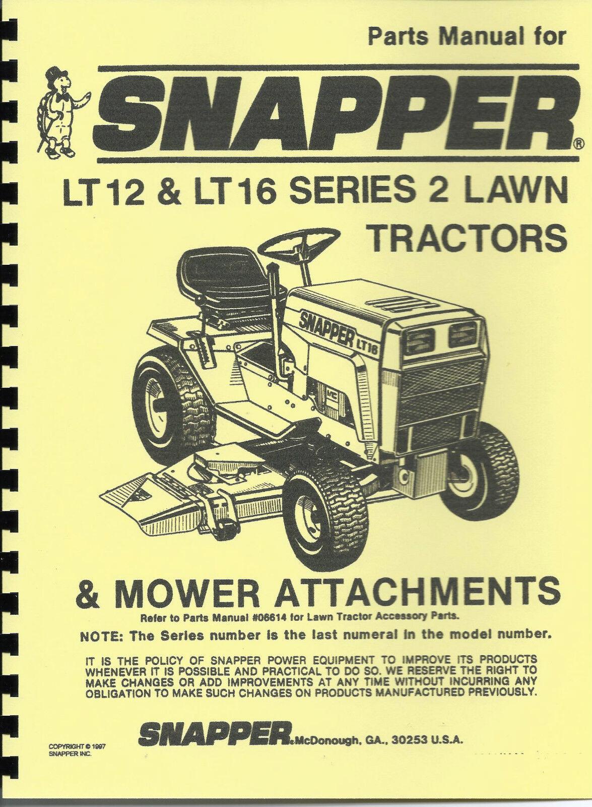 item 1 Snapper LT12 & LT16 Lawn Tractor Parts Manual -Snapper LT12 & LT16 Lawn  Tractor Parts Manual