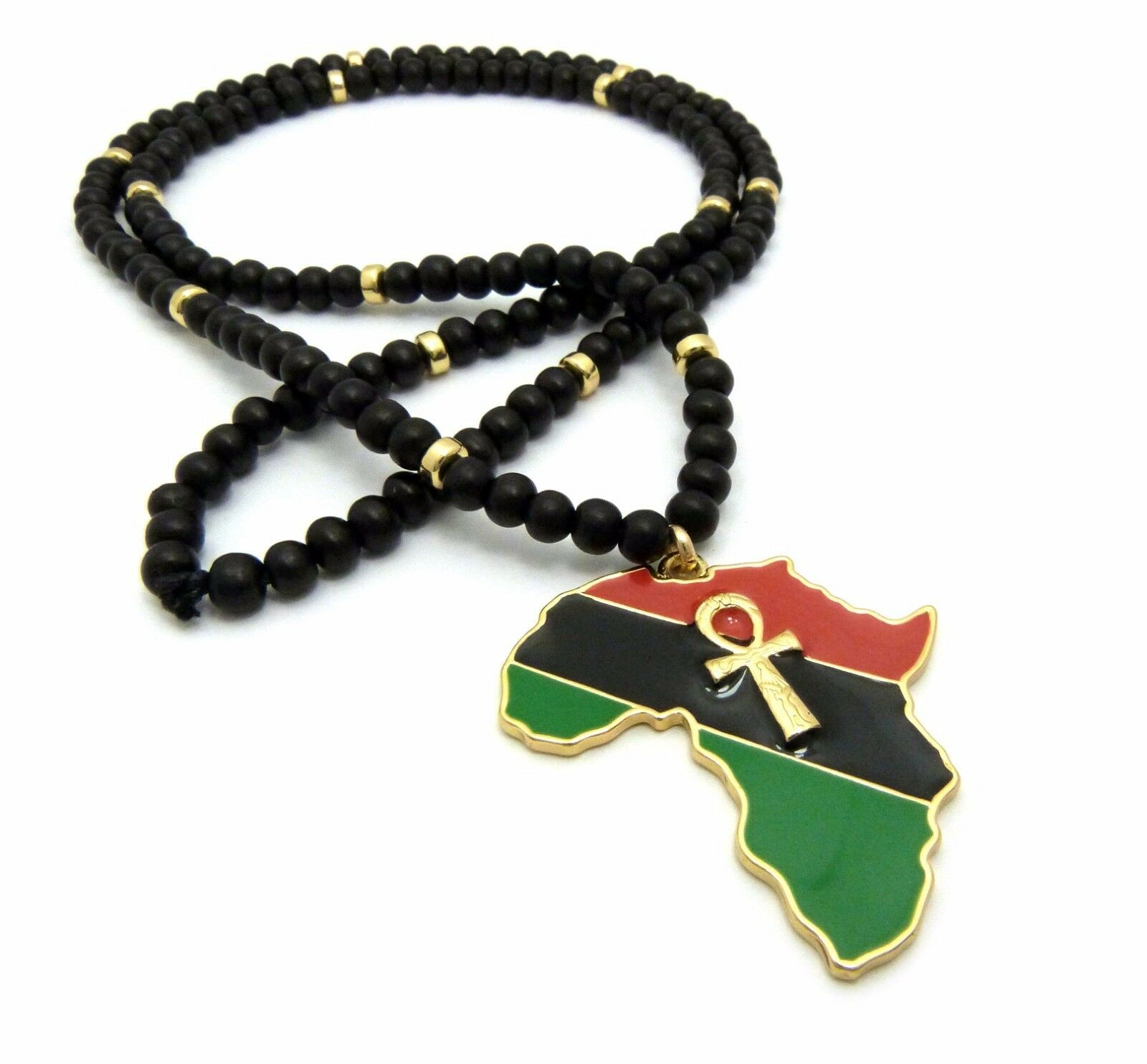 Africa pendant ebay new ankh cross africa pendant 30 wood bead chain hip hop necklace rc2517g aloadofball Image collections