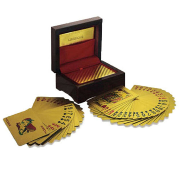 24k 999.9% Genuine Gold Plated Poker Playing Cards Deck With Wooden Box GN