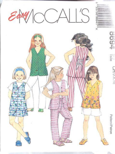 8694 Uncut Vintage McCalls Sewing Pattern Girls Vest Pants Shorts ...