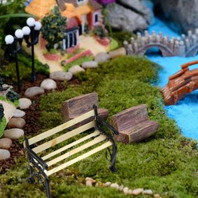 1:12 Wooden Bench Metal Dolls House Miniature Garden Furniture Accessories  New