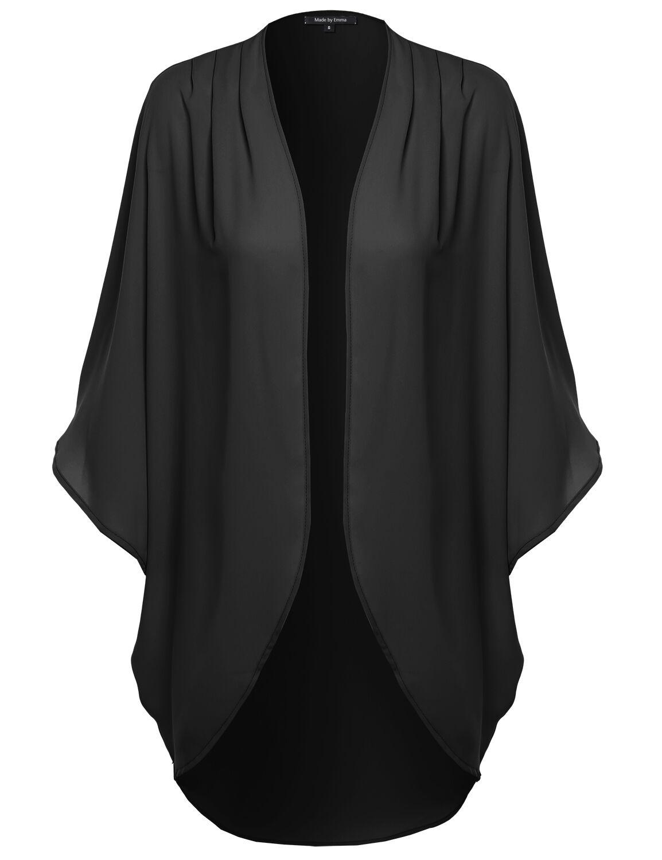Fashionoutfit Women's Solid Loose Flow Sheer Chiffon Blouse Kimono ...