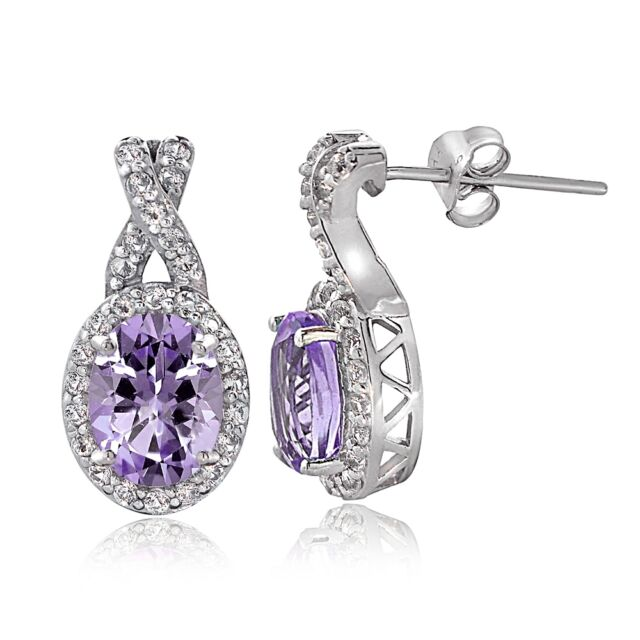 Sterling Silver 3ct Amethyst White Topaz X And Oval Drop Earrings