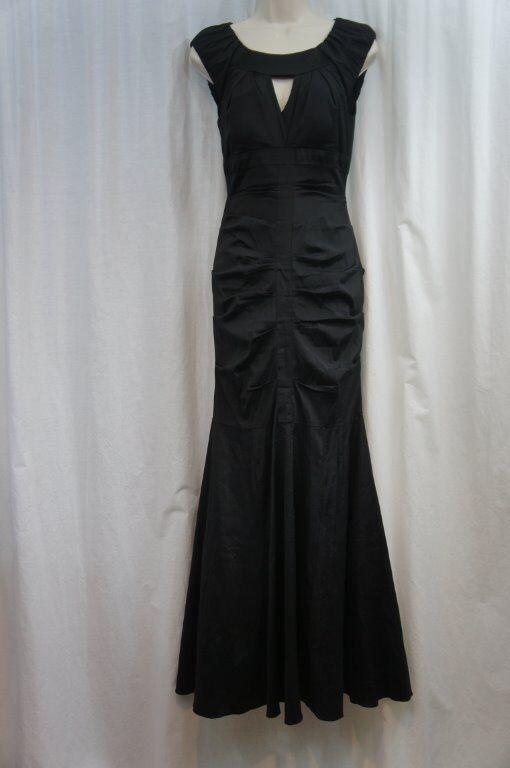 Xscape Dress Sz 4 Solid Black Taffeta Cap Sleeve Formal Evening ...
