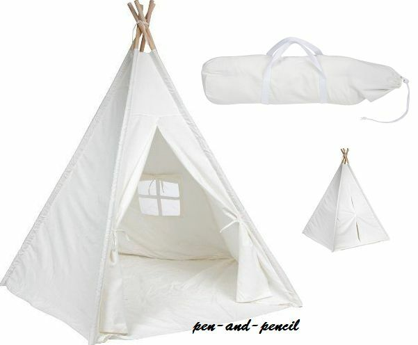 White Teepee Tent Canvas Pavilion Canopy 6u0027 Garden Indoor Outdoor C&ing Cotton  sc 1 st  eBay & White Teepee Tent Canvas Pavilion Canopy 6u0027 Garden Indoor Outdoor ...