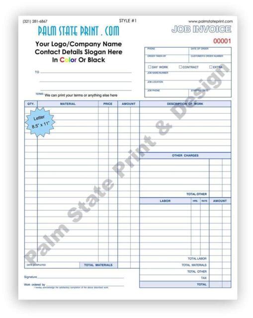 contractors invoice
